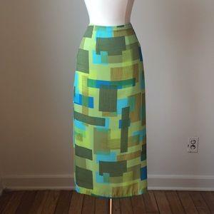 💚Vintage 90s green and blue chiffon midi skirt 💙